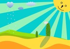 Desert landscape. Sun cactus rain Stock Photography