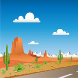Desert Landscape. With Road and Mountains Royalty Free Stock Photography