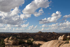 Desert landscape of Arizona. Arizona offers amazing blue skies, puffy clouds, and unique desert terrain. This is a destination scenic in Chino Valley, America stock photo