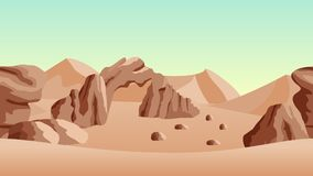 Desert landscape background. with sand dunes and ancient ruines. Horizontally seamless, can be used in game asset. Vector Illustration Stock Image