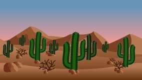Desert landscape background. with sand dunes and exotic cactus. Bushes. Horizontally seamless, can be used in game asset. Vector Illustration Stock Photo