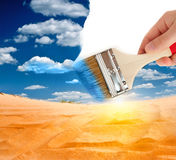 Desert landscape with brush Stock Photography