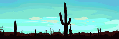 Desert landscape with cactus. Vector illustration Stock Photo