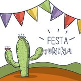 Desert landscape with a cactus in the festa junina celebration. Vector illustration Stock Photos