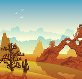 Desert landscape. Cactuses and mountains. Cartoon desert landscape with cactuses and mountains on a blue cloudy sky. Vector nature illustration Royalty Free Stock Photo