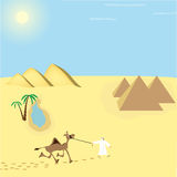 Desert landscape with a camel. Desert palms pyramid camel bright sun Stock Images