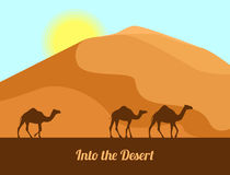 Desert landscape. Camel silhouettes on sand background. In the desert. Vector illustration in flat style. Royalty Free Stock Photography
