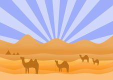 Desert landscape with camel,Vector illustrations Stock Photos