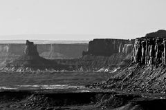 Desert Landscape of Canyonlands. Canyonlands National park and its sandstone formations rising with vertical cliffs Stock Photos