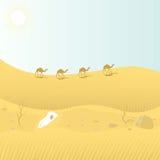 Desert landscape. Caravan of wandering in the wilderness Royalty Free Stock Photo