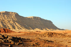 Desert landscape in Crater Ramon. Royalty Free Stock Photography