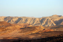 Desert landscape in Crater Ramon. Royalty Free Stock Image