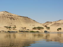Desert - landscape during a cruise on the nile. Cruise on the nile - Desert near Aswan - 1st cataracts on the Nile - Egypt royalty free stock photos