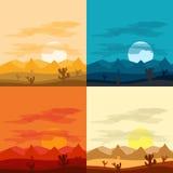 Desert landscape days and desert at night. Landscapes of the desert Royalty Free Stock Images