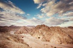 Desert landscape. Dramatic landscape of the Negev desert in Israel stock photo