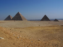 Desert Landscape Giza Pyramids with Cairo City in Distanc Stock Image