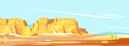 Panorama of the desert canyon. Desert landscape with high rocky canyon in the distance in sunny day, arid deserted place without water, wild west concept scenery vector illustration