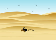Desert landscape and jerboa. Stock Photos