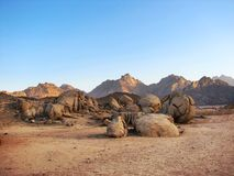 Desert landscape with the mountains Royalty Free Stock Photo