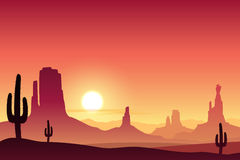 Desert Landscape. A Desert Landscape with Mountains and Sunset, Sunrise Royalty Free Stock Images
