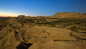 Desert landscape of Navarra in   moonlit night Stock Image