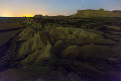 Desert landscape of Navarra in    night Royalty Free Stock Photo