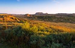 Desert landscape of Navarra in summer morning Royalty Free Stock Photo