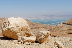Desert landscape near the Dead Sea at bright noon Royalty Free Stock Photos