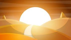 Desert landscape. Pyramid and sun. Stock Photography