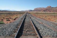 Railway section in Colorado, USA. Desert landscape with a railway section on a sunny day. Colorado, USA royalty free stock photos