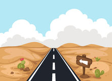 Desert landscape with road Royalty Free Stock Photos