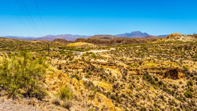 Desert Landscape and rugged Mountains in Tonto National Forest in Arizona, USA Royalty Free Stock Image