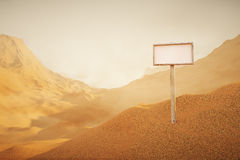 Desert landscape with singboard Stock Image