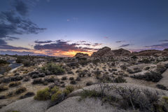Desert Landscape after Sun Set. Desert scene turing into night during sunset also called golden hour Royalty Free Stock Images