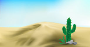 Desert landscape vector art illustration background of dunes Royalty Free Stock Image