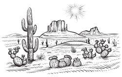 Desert landscape vector illustration with saguaro and opuntia blooming cactus. Desert landscape vector illustration. Hand drawn black and white line desert with vector illustration
