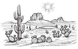 Free Desert Landscape Vector Illustration With Saguaro And Opuntia Blooming Cactus. Royalty Free Stock Images - 117562289