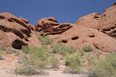 Desert Mountain Landscape with Cloudless Sky Stock Images