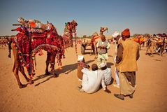 Desert landscape and villagers Stock Photography