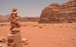 Desert Landscape. In Wadi Rum Jordan Royalty Free Stock Photo