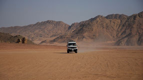 Desert landscape with the white jeep royalty free stock images