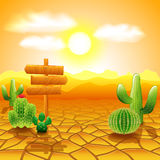 Desert landscape with wooden sign and cactus Stock Photography