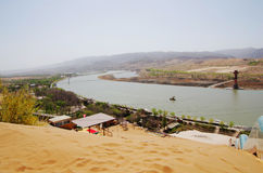 Desert Landscape With Yellow River Stock Images