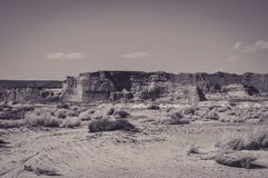 Desert Landscapes at the Sides of the Lake Powell. USA Royalty Free Stock Images