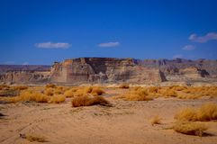 Desert Landscapes at the Sides of the Lake Powell. USA Stock Photo