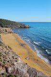 Desert like beach in spain. Beach in spain, parque natural de calblanque with footprints royalty free stock photo