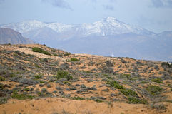 Desert Like Sand Dunes And Snow On The Mountains Royalty Free Stock Photos