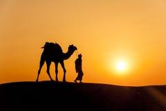 Desert local walks with camel through Thar Desert Stock Photography