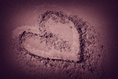 Desert love. Heart drawing on the sand dune in Sahara desert Stock Photography