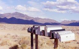 Mountain Mailboxes. Desert mailboxes in Sierra Nevada Mountains stock image